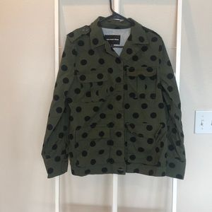 who what wear army green polka dot jacket